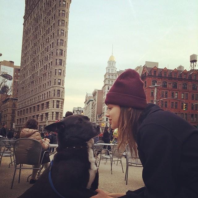 Anais Pouliot poses with pitbull
