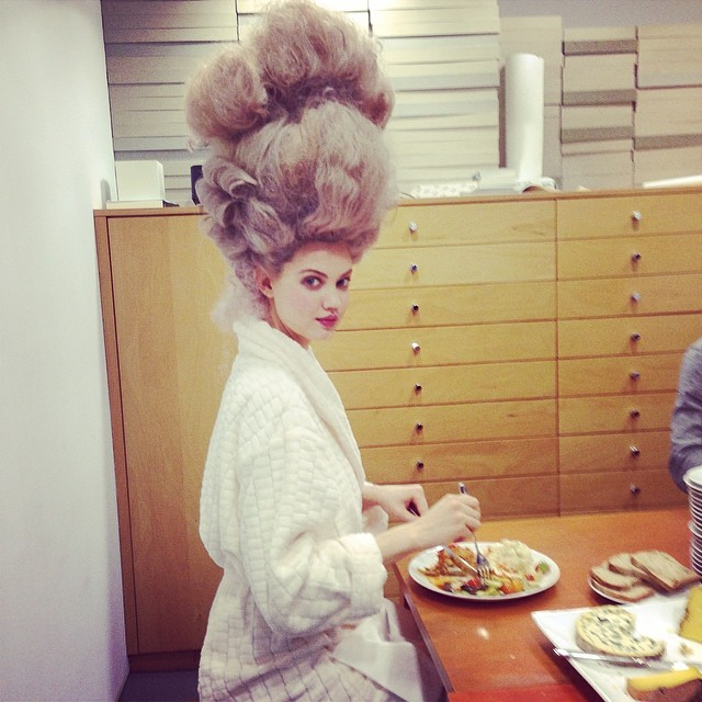 Lindsey Wixson shares a behind the scenes image from her Bazaar shoot