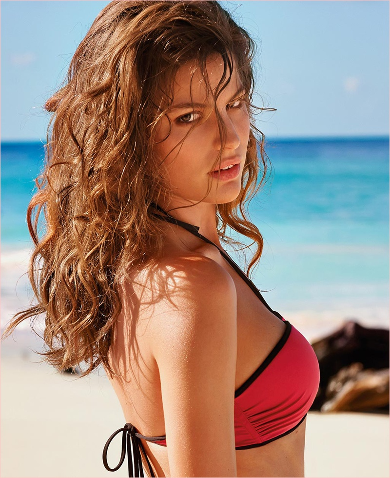 cameron russell bikini calzedonia 2014 1 Golden Sun: Cameron Russell Models Calzedonia Bikinis in New Shoot