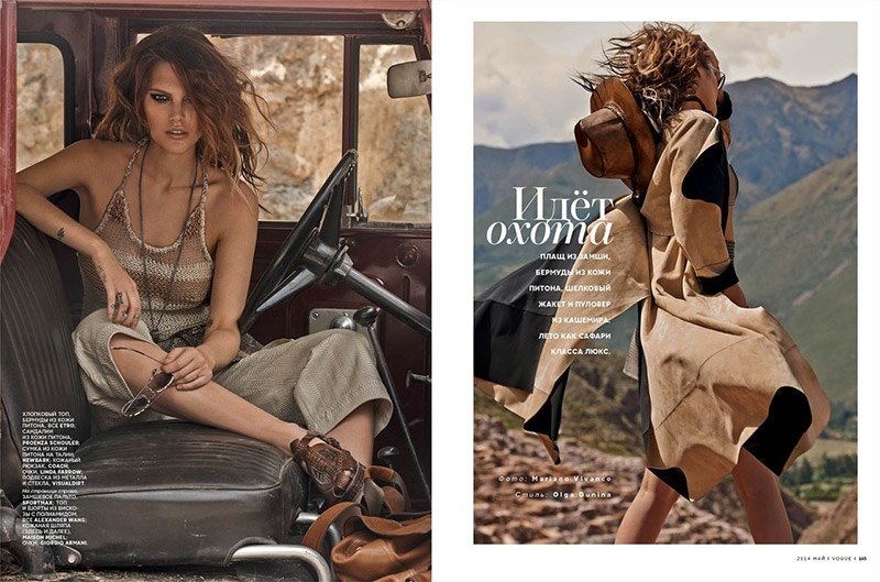 catherine mcneil mariano vivanco 1 Catherine McNeil Sports Safari Style for Vogue Russia by Mariano Vivanco