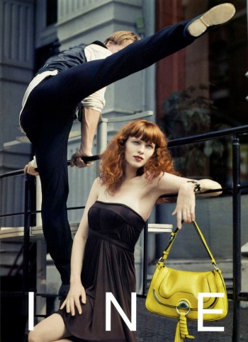 TBT | Karen Elson Poses with Dancer Nikolaj Hübbe for Céline Spring 2008 Ads