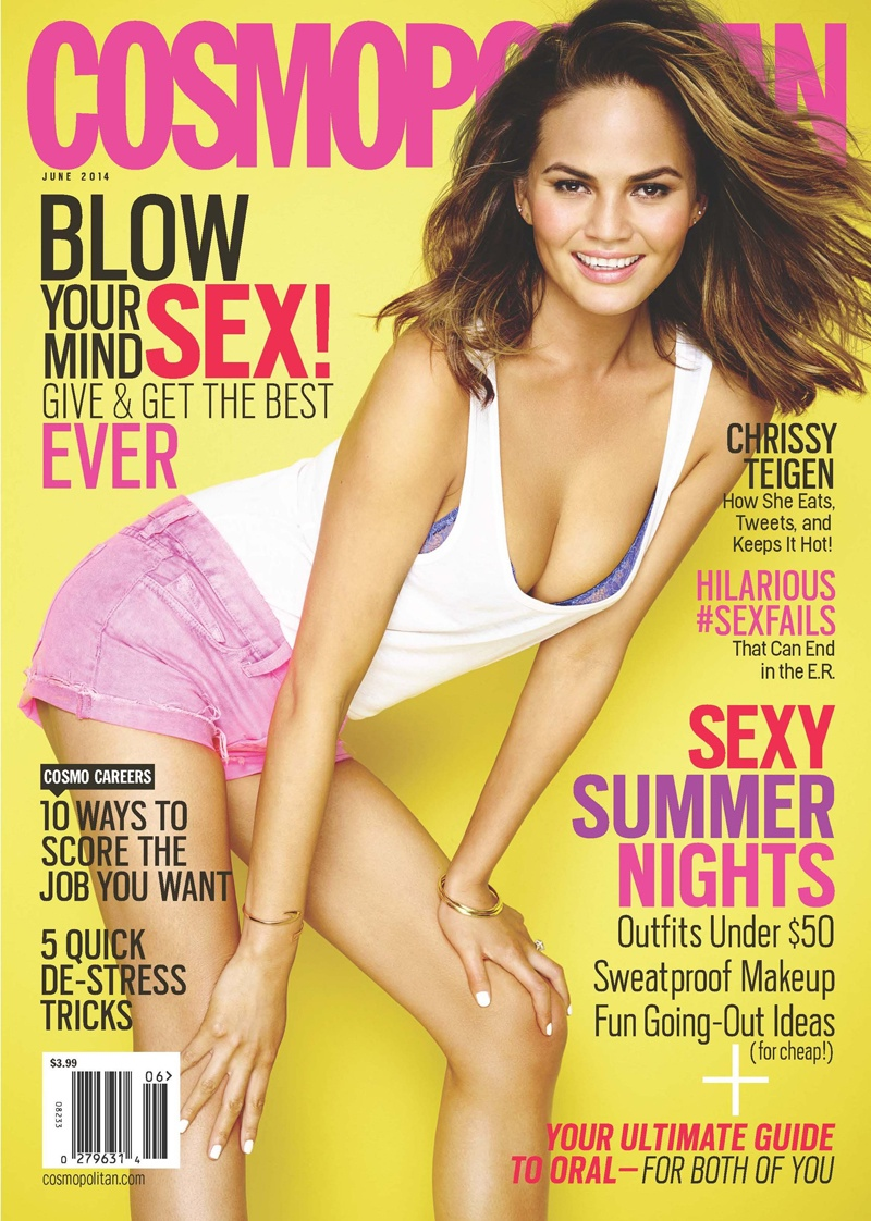 BEFORE: Chrissy on the May cover of Cosmopolitan with brown hair