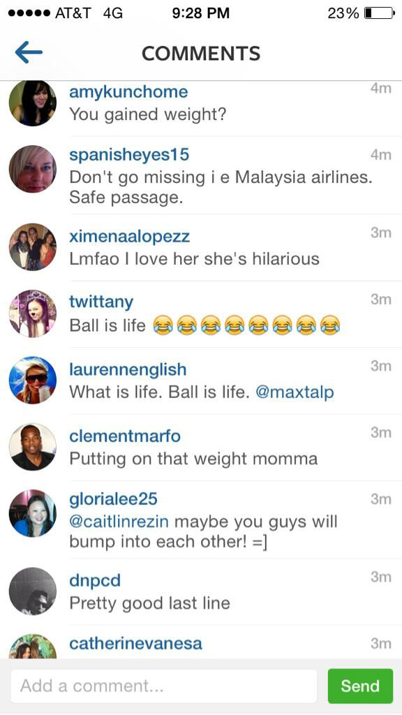 Screen cap of negative comments. Via Chrissy's Twitter
