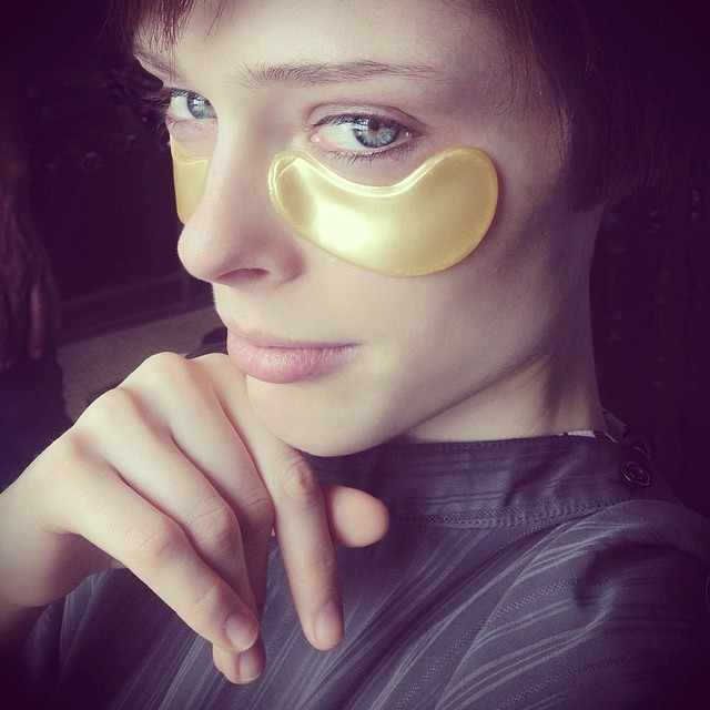 Coco Rocha wears 24k gold eye mask