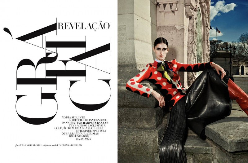daiane conterato model1 800x526 Daiane Conterato Models Valentino Fall 14 for Bazaar Brazil by Thanassis Krikis