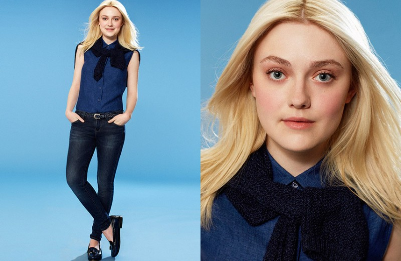 dakota fanning uniqlo spring 20141 800x520 Dakota Fanning Gets Casual in Uniqlo Spring 2014 Campaign