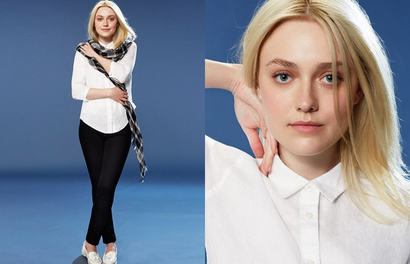 dakota fanning uniqlo spring 20142 800x516 Dakota Fanning Gets Casual in Uniqlo Spring 2014 Campaign