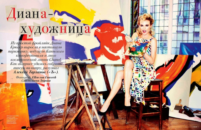 diane kruger ellen von unwerth2 Diane Kruger Turns on the Charm for Ellen von Unwerth in Tatler Russia Shoot