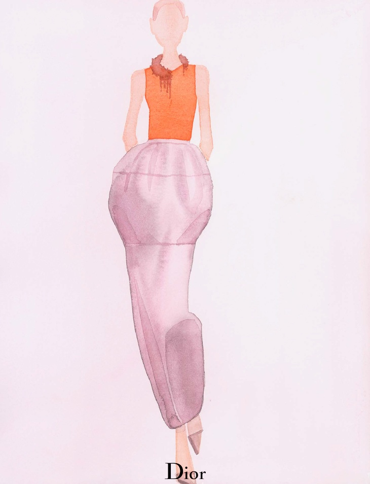 dior spring illustrations1 Diors Spring Collection as Watercolors by Mats Gustafson