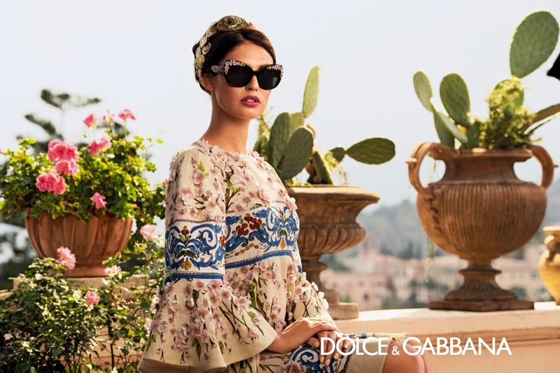 dolce gabbana eyewear spring 2014 campaign3 Bianca Balti is Like a Painting for Dolce & Gabbanas Spring 2014 Eyewear Ads