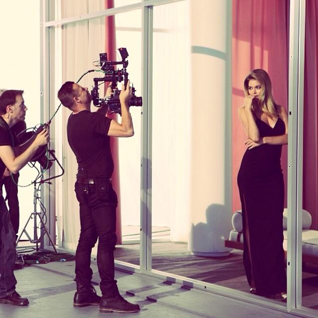 Doutzen Kroes on set of upcoming Calvin Klein shoot
