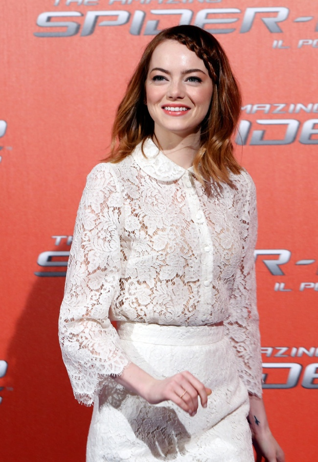emma stone dolce gabbana2 Emma Stone Gets Lacy in Dolce & Gabbana at The Amazing Spider Man 2 Rome Photocall