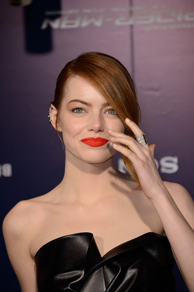 emma stone lanvin close Emma Stone Wears Lanvin Leather at The Amazing Spider Man 2 Paris Premiere