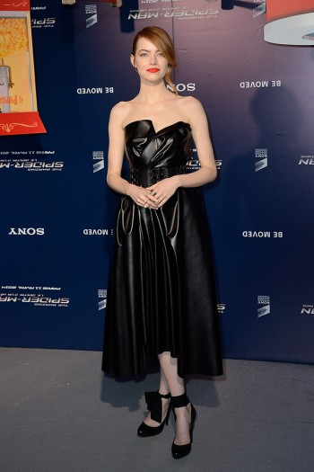"Emma Stone Wears Lanvin Leather at ""The Amazing Spider-Man 2″ Paris Premiere"