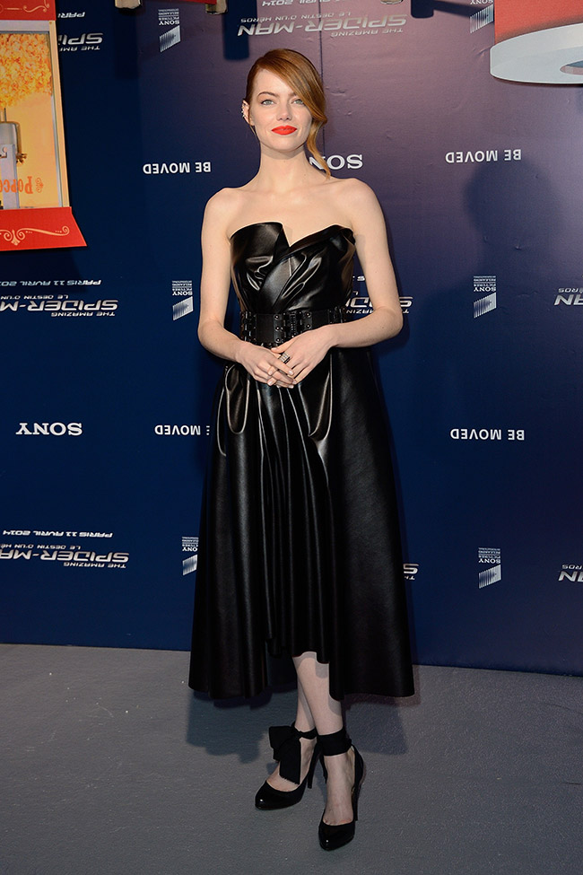 emma stone lanvin1 Emma Stone Wears Lanvin Leather at The Amazing Spider Man 2 Paris Premiere