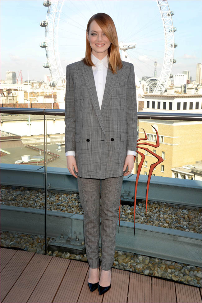 emma stone saint laurent pantsuit1 Emma Stone Suits Up in Saint Laurent at The Amazing Spider Man 2 London Photocall