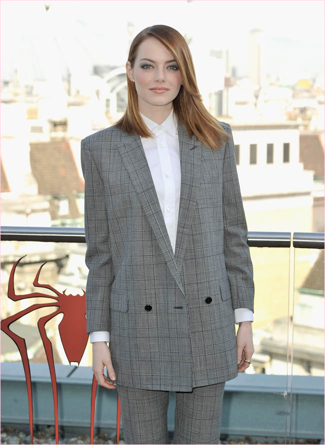 emma stone saint laurent pantsuit2 Emma Stone Suits Up in Saint Laurent at The Amazing Spider Man 2 London Photocall