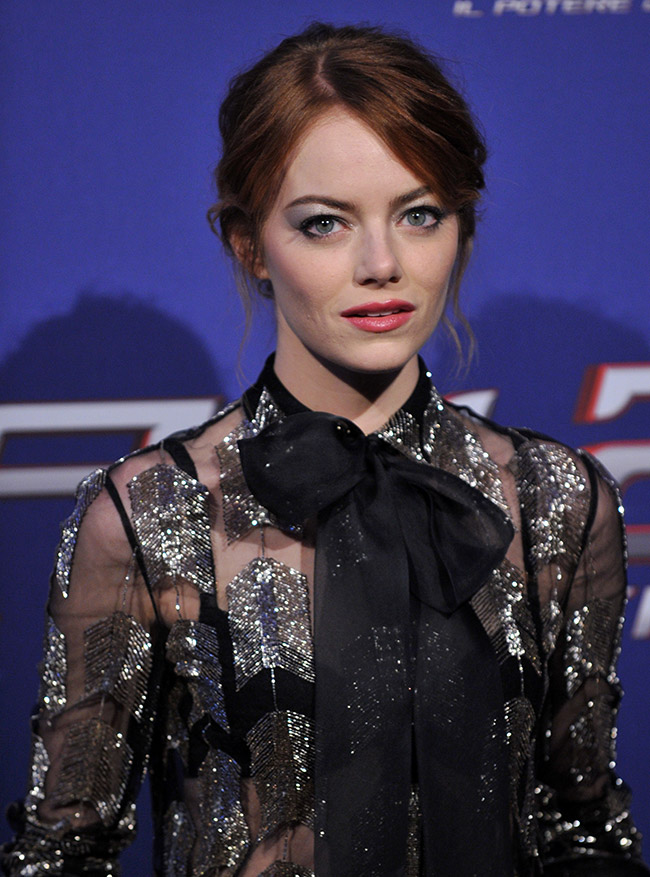 emma stone valentino close Emma Stone Wears Sheer Valentino at The Amazing Spider Man 2 Rome Premiere