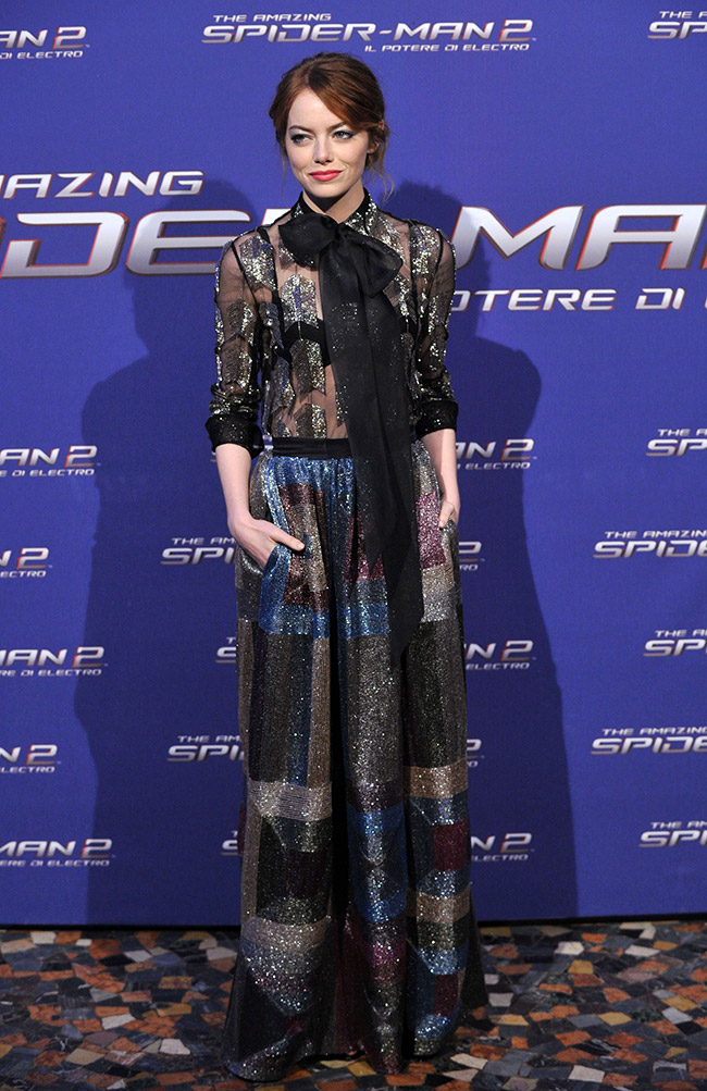 emma stone valentino dress Emma Stone Wears Sheer Valentino at The Amazing Spider Man 2 Rome Premiere