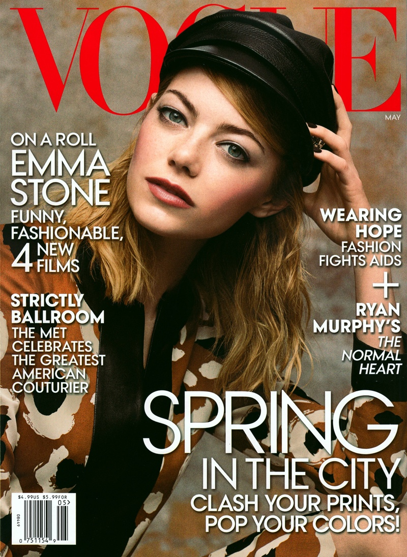 emma stone vogue 2014 cover Emma Stone Wears Gucci Prints on Vogue US May 2014 Cover