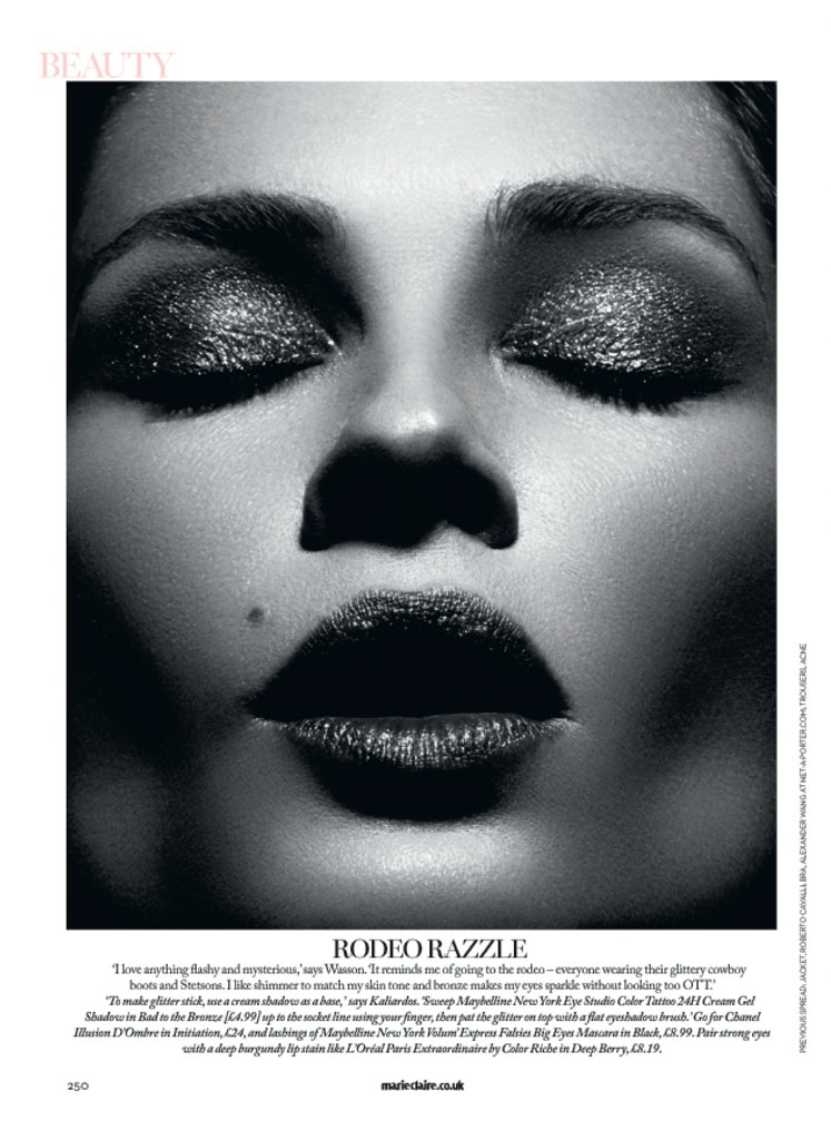 erin wasson david roemer3 Erin Wasson Stars in Beauty Spread for Marie Claire UK by David Roemer
