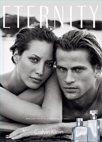 "Calvin Klein 25th Anniversary Edition of ""Eternity"" Fragrance Ad with Christy Turlington & Mark Vanderloo photographed by Peter Lindbergh. Courtesy of CK"
