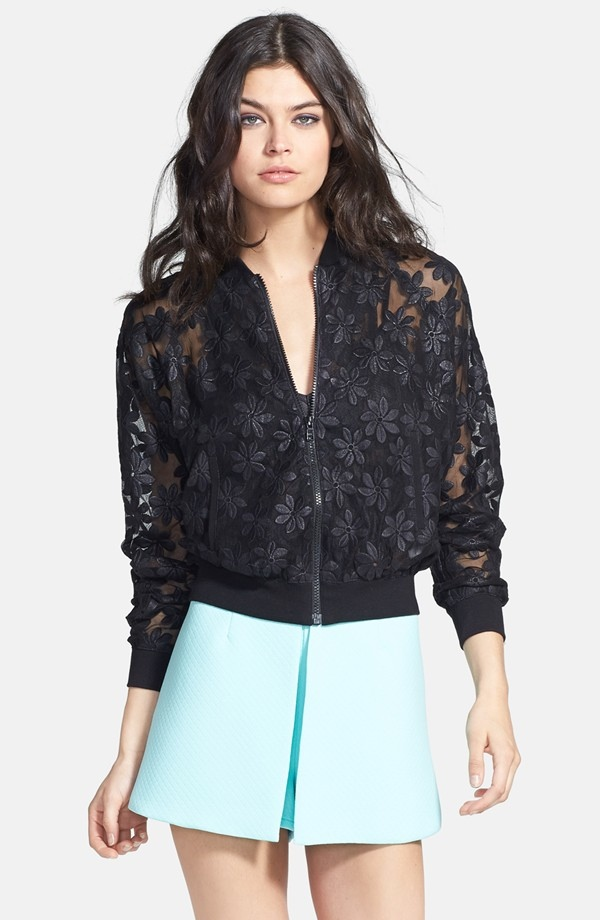 floral bomber mesh jacket 5 Spring Bomber Jackets to Wear Now