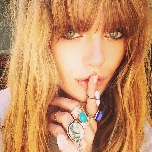 Frida Gustavsson shows off her jewelry