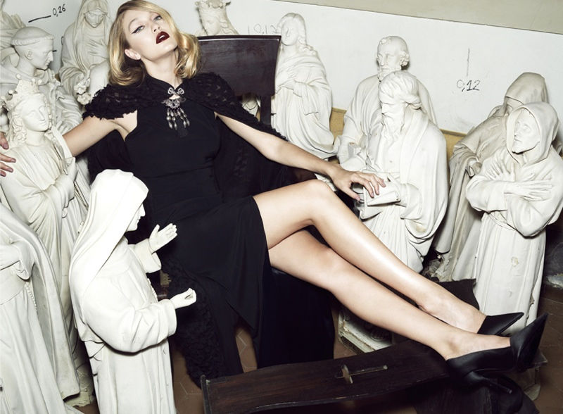 gigi hadid lita mortari fall 2014 2 Gigi Hadid Gets Dark & Glamorous for Lita Mortari F/W 2014 Campaign