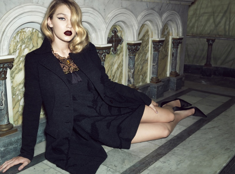 gigi hadid lita mortari fall 2014 5 Gigi Hadid Gets Dark & Glamorous for Lita Mortari F/W 2014 Campaign