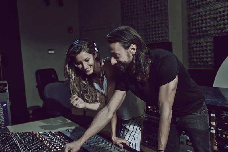 Behind the scenes image with Gisele Bundchen in music studio. / Courtesy of WWD