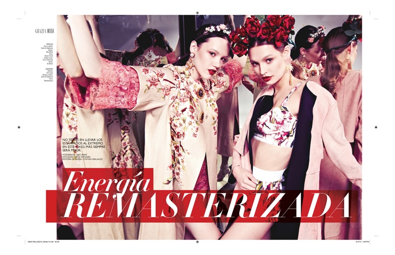 grazia mexico spring1 Spring Reflections: Roosmarijn & Barrett in Printed Looks for Grazia Mexico