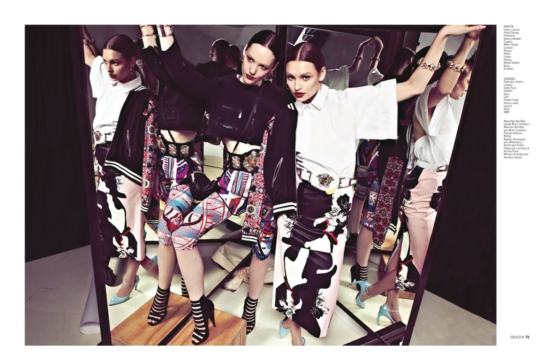grazia mexico spring6 Spring Reflections: Roosmarijn & Barrett in Printed Looks for Grazia Mexico