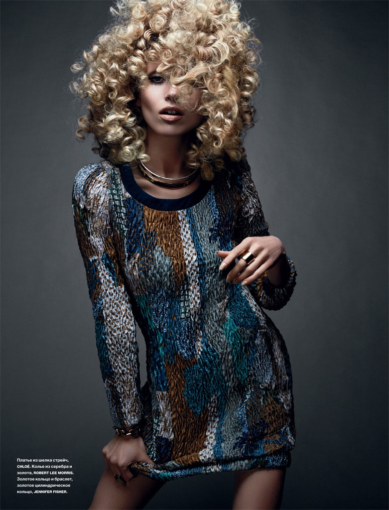 hana jirickova 2014 photos3 Hana Jirickova Rocks Curly Hair in Numero Russia Spread by David Roemer