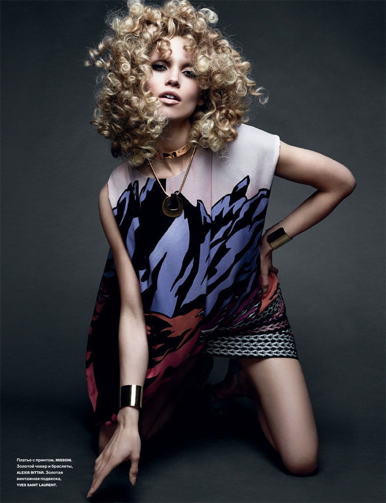 Hana Jirickova Rocks Curly Hair in Numero Russia Spread by David Roemer