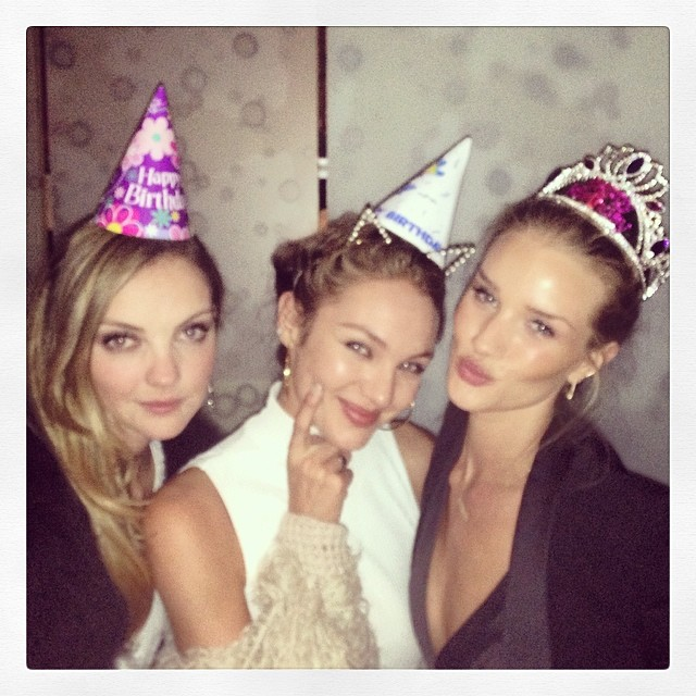 Heather Marks, Candice Swanepoel and birthday girl Rosie Huntington-Whitley with some stylish headpieces