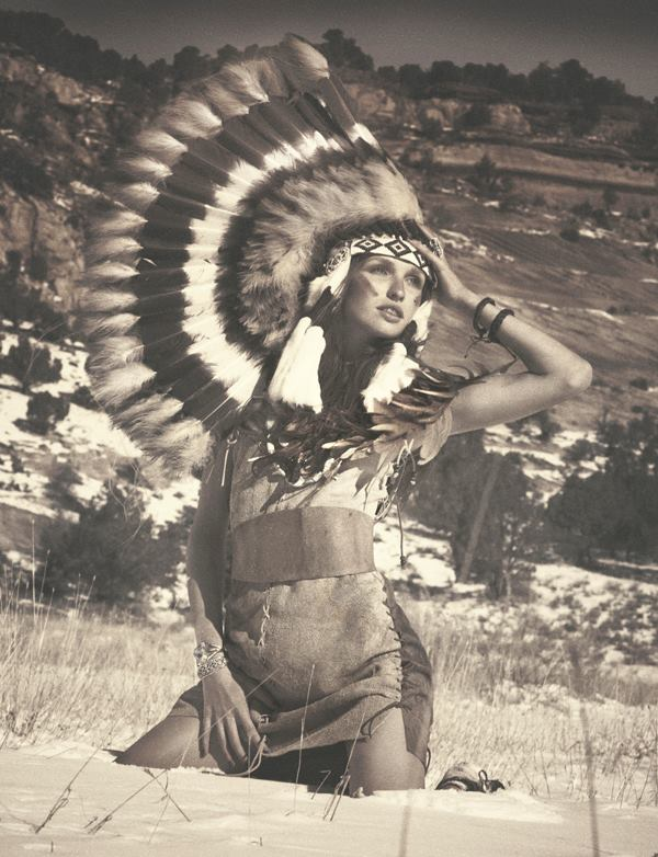 A GNTM contestant dressed in a Native American themed costume. Image: Heidi Klum's Facebook