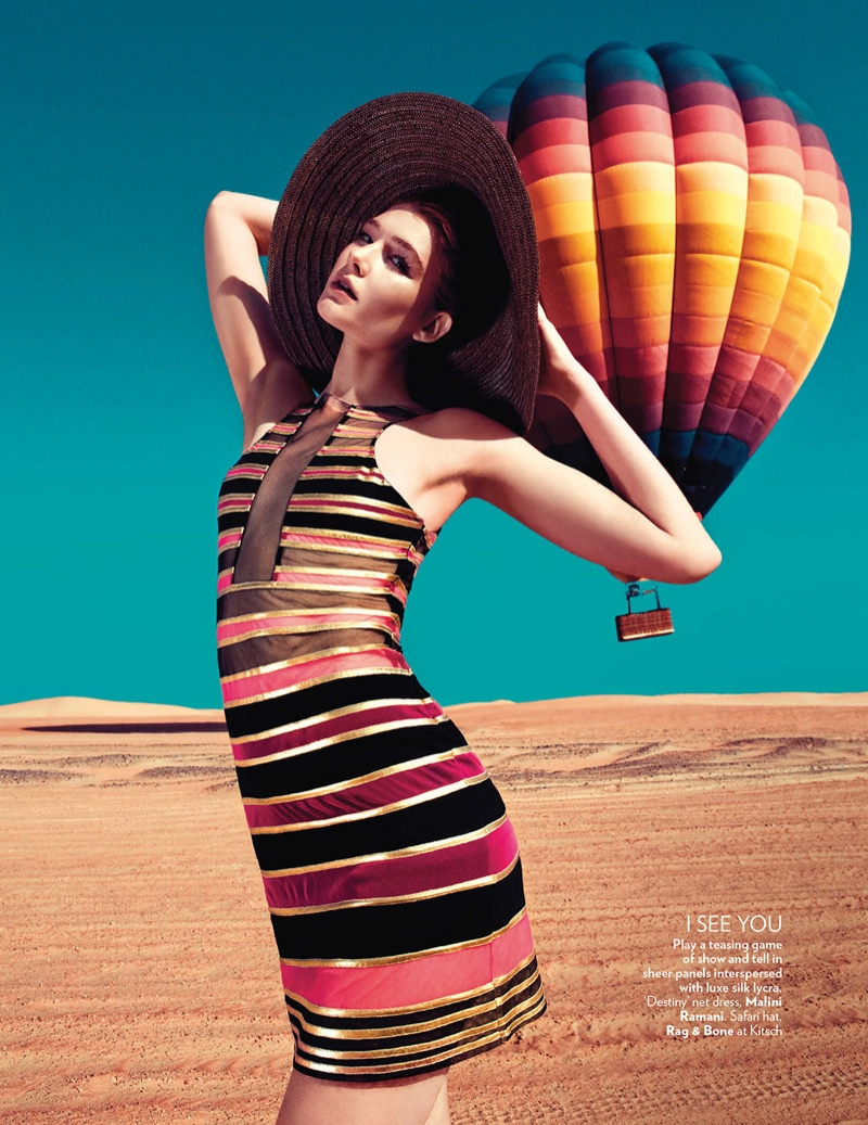 hot air balloon fashion shoot2 Up, Up & Away: Sarah Pauley Enchants for Vogue India Shoot by Mazen Abusrour