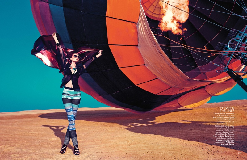 hot air balloon fashion shoot4 Up, Up & Away: Sarah Pauley Enchants for Vogue India Shoot by Mazen Abusrour
