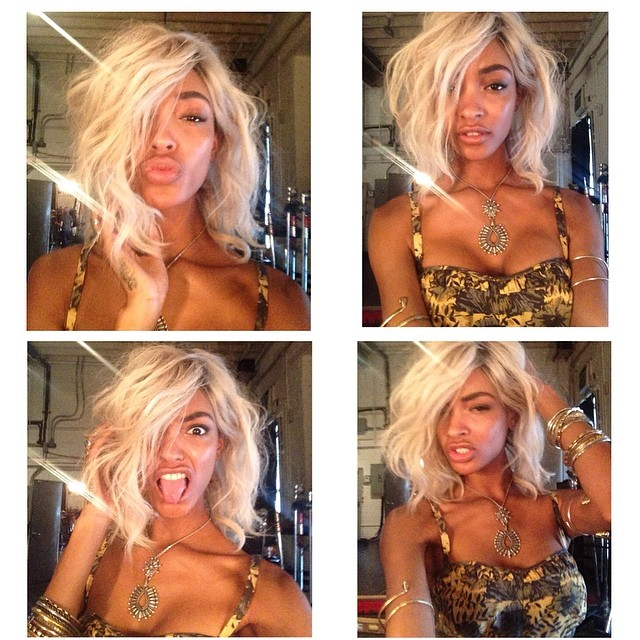 Jourdan Dunn wears blonde wig for Free People shoot