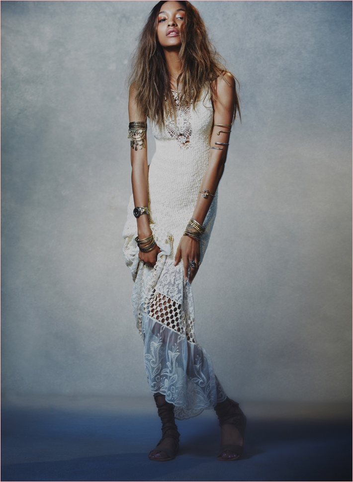Jourdan Dunn wears a bohemian inspired maxi dress in Free People lookbook.