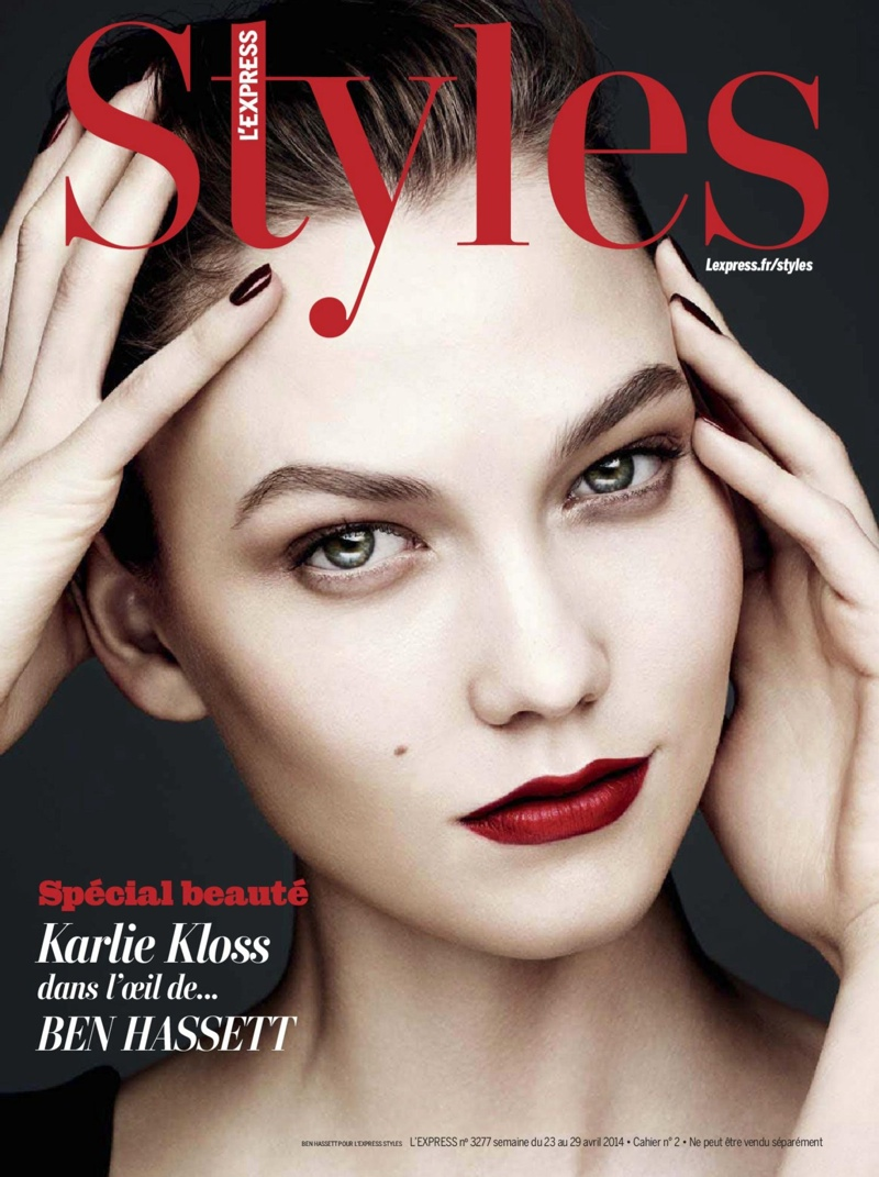 karlie beauty ben hassett1 Karlie Kloss Gets Painted for Ben Hassett in LExpress Styles Shoot