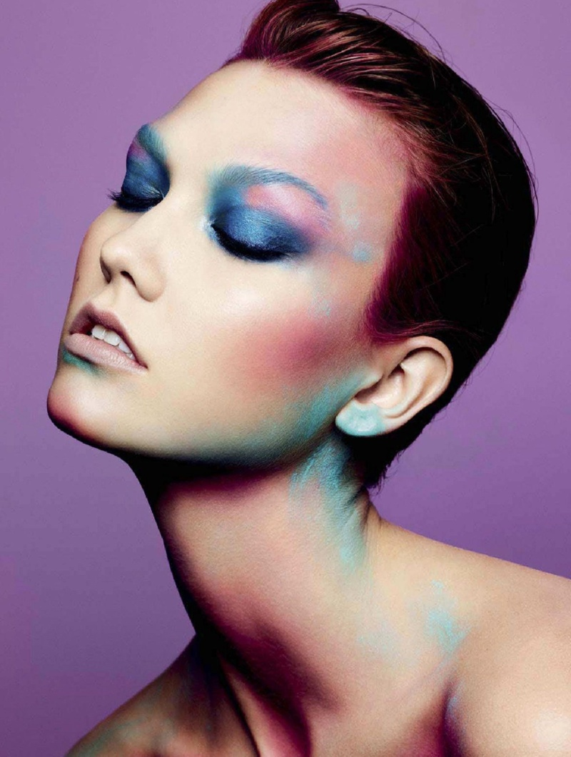 karlie beauty ben hassett10 Karlie Kloss Gets Painted for Ben Hassett in LExpress Styles Shoot