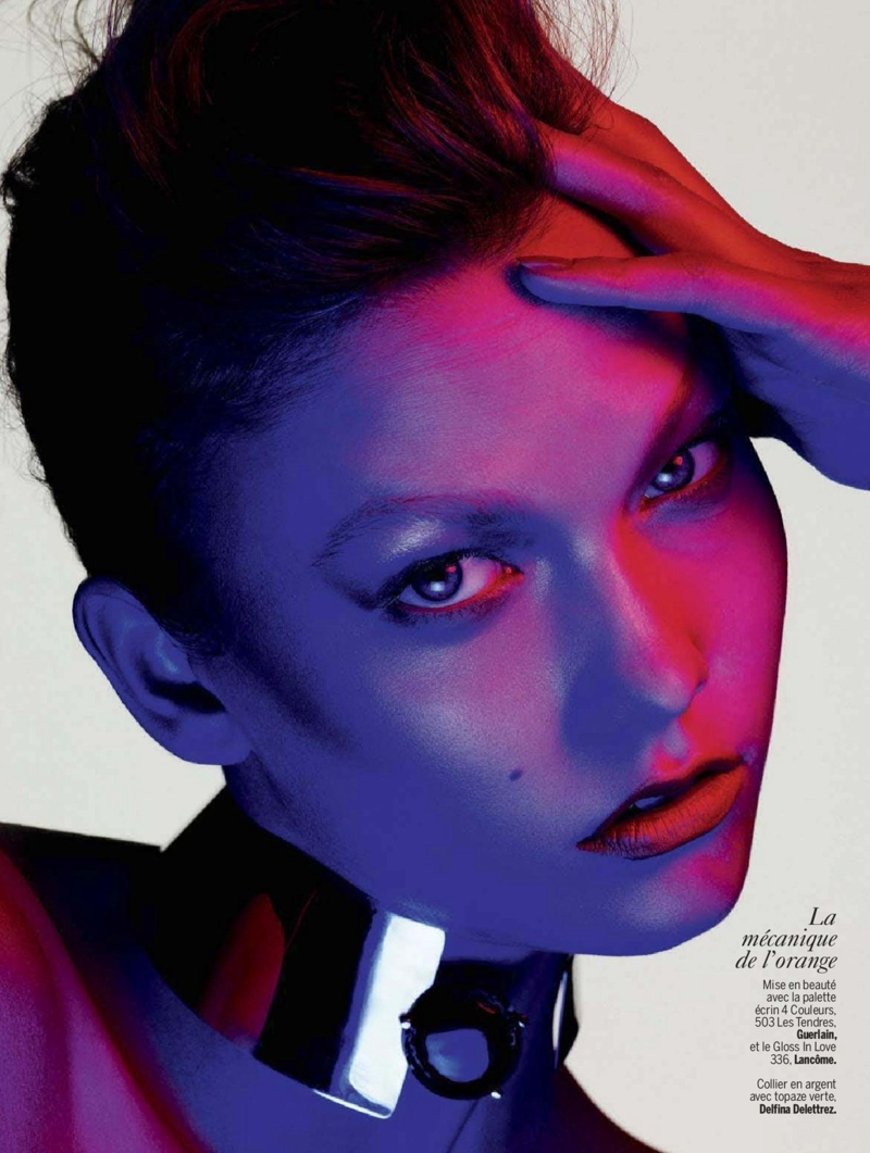 karlie beauty ben hassett12 Karlie Kloss Gets Painted for Ben Hassett in LExpress Styles Shoot