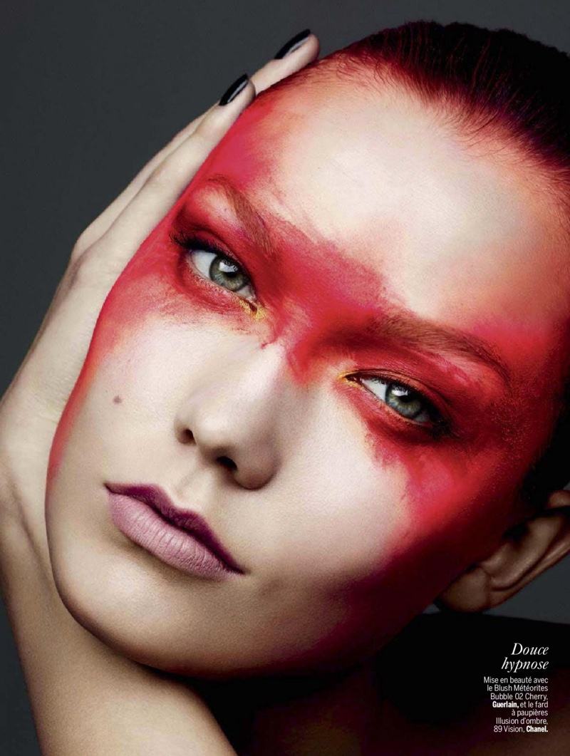 karlie beauty ben hassett2 Karlie Kloss Gets Painted for Ben Hassett in LExpress Styles Shoot