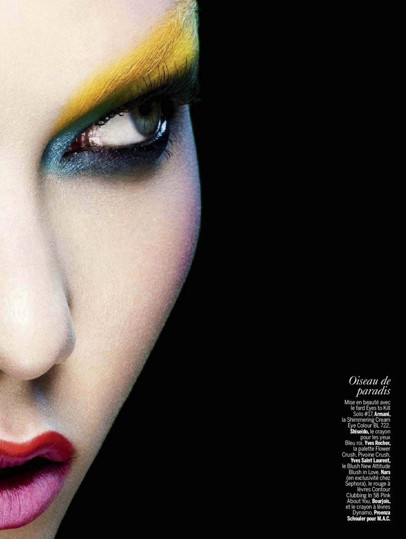 karlie beauty ben hassett3 Karlie Kloss Gets Painted for Ben Hassett in LExpress Styles Shoot