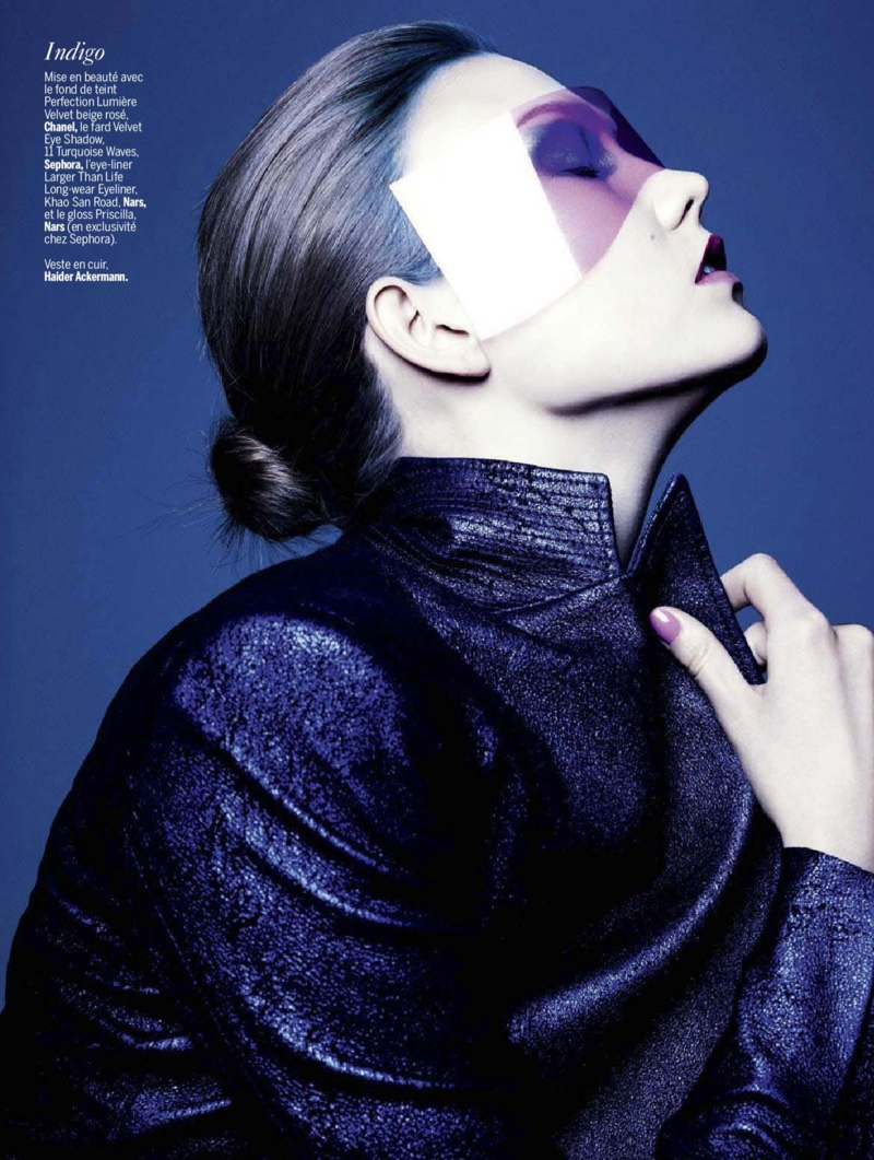 karlie beauty ben hassett8 Karlie Kloss Gets Painted for Ben Hassett in LExpress Styles Shoot
