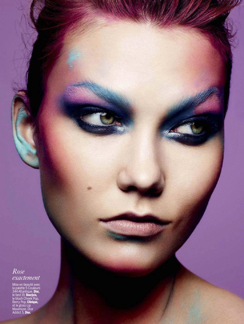 karlie beauty ben hassett9 Karlie Kloss Gets Painted for Ben Hassett in LExpress Styles Shoot