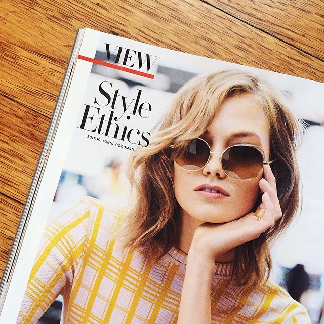 Image: Karlie Kloss in Vogue's May Issue. Photo from Warby Parker's Instagram