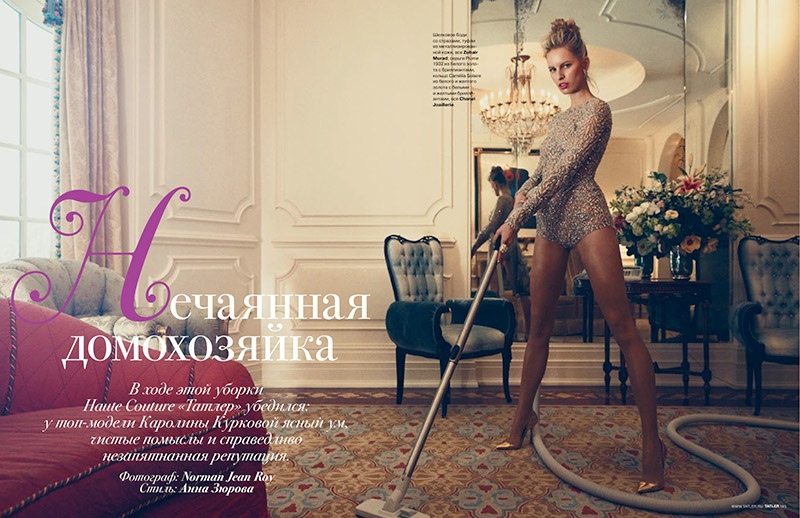 karolina kurkova domestic goddess1 Karolina Kurkova Has Domestic Bliss for Tatler Russia by Norman Jean Roy